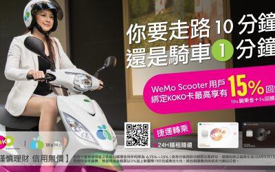 騎 WeMo Scooter 綁定國泰世華KOKO系列卡享15%回饋 小資族搶好康 綁定國泰全系列卡輸入專屬優惠 再拿50元免費騎乘金