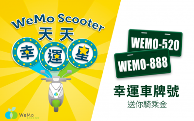 WeMo Scooter 千台車牌成幸運中獎碼   天天送免費騎乘金