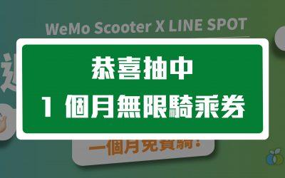 【WeMo Scooter 歡慶上線 LINE 熱點】週週抽 1 個月免費騎中獎名單