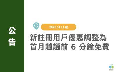 【公告】WeMo Scooter 新註冊用戶優惠調整|改為首月趟趟前 6 分鐘免費